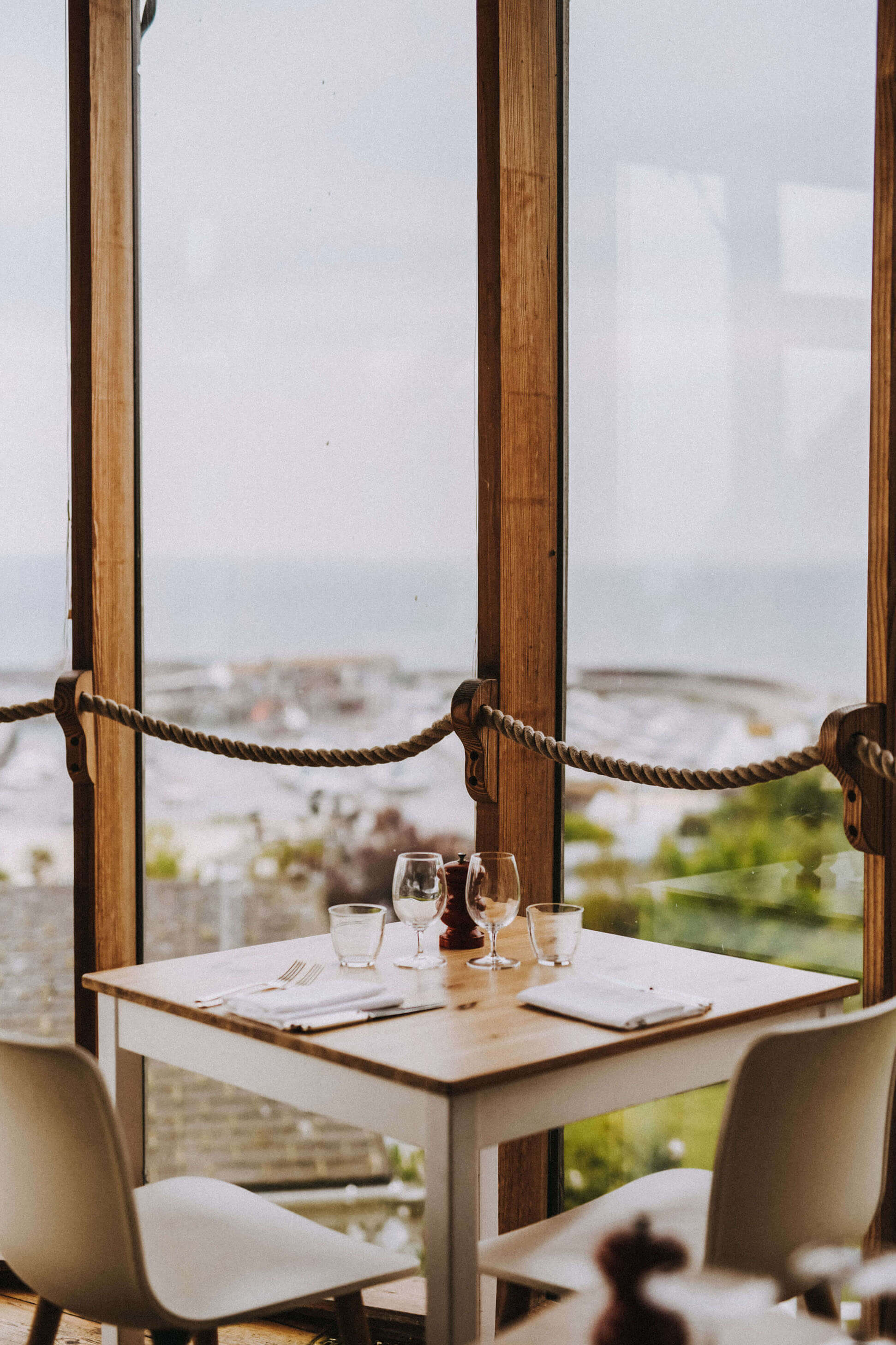 Dining table view over ocean